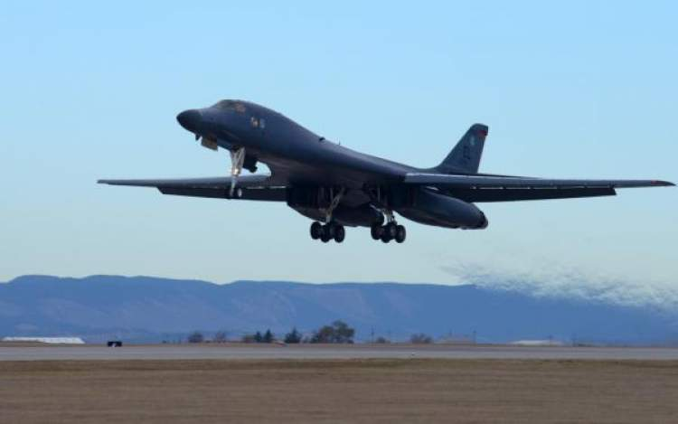 A B-1 takes flight at Ellsworth Air Force Base in this 2018 photo.  The Air Force has announced Ellsworth as an operations and training base for the new B-21.