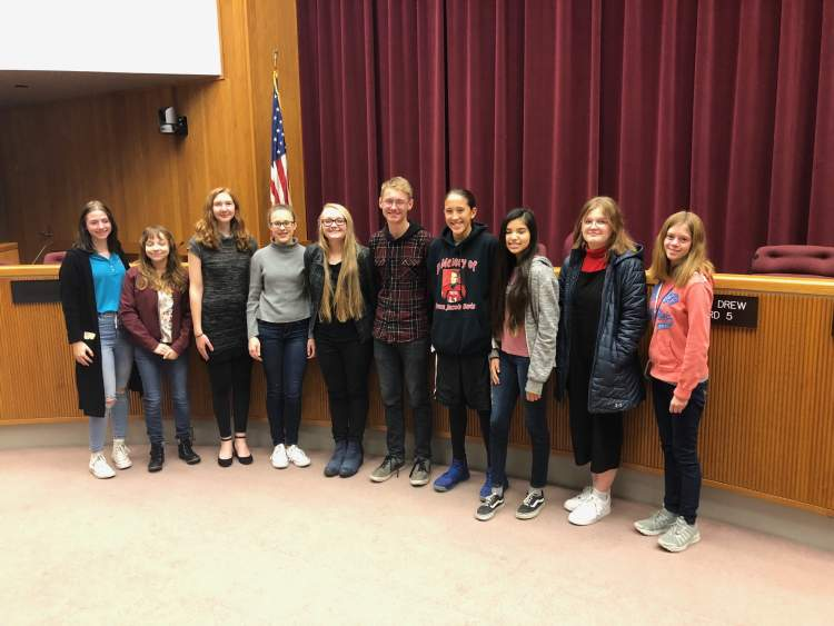 Some of the students who will be participating in the newly-formed Youth City Council; they were on hand during an announcement event recently regarding the formation of the Youth Council. The first meeting will be held in Council Chambers Tuesday (January 14).