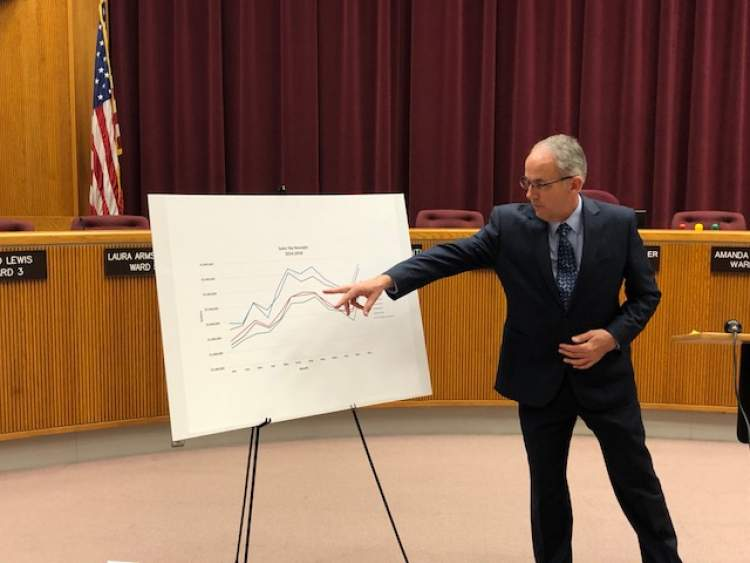 Mayor Steve Allender points to City numbers during his Progress Report press conference January 31.