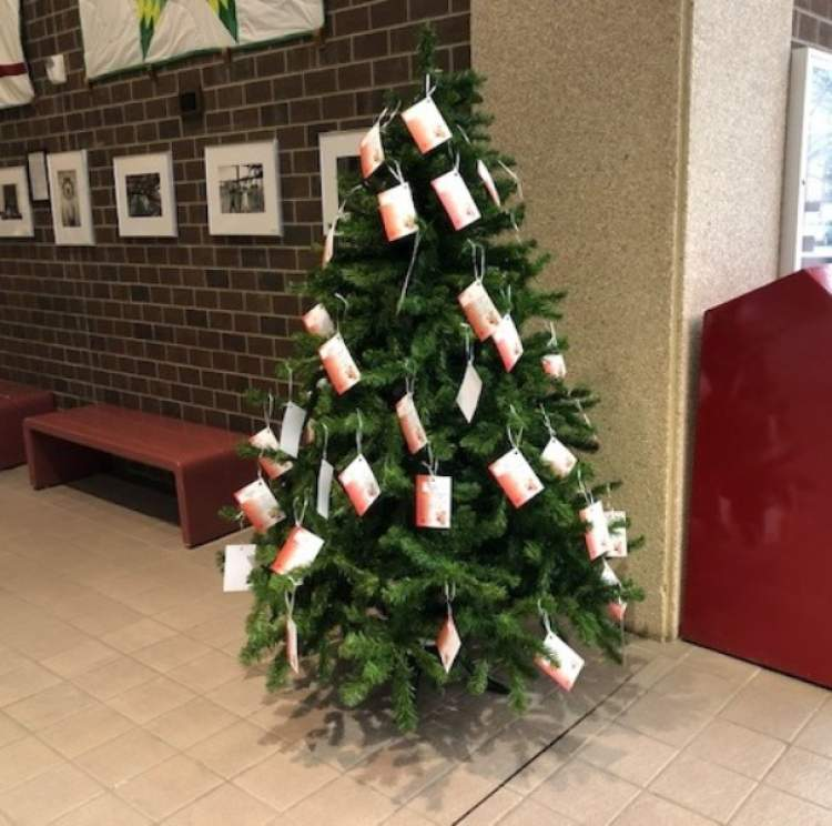 The City is hosting five Salvation Army Angel Trees, including this one in the lobby of the City/School Administration Center.