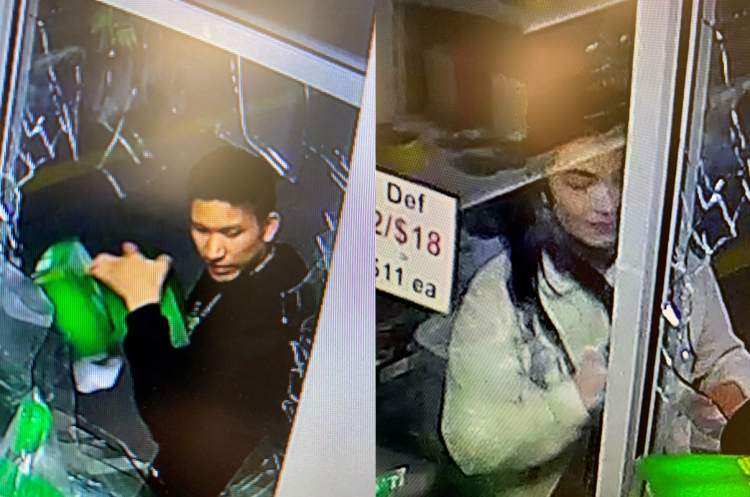 Male and female suspect captured by business's security camera