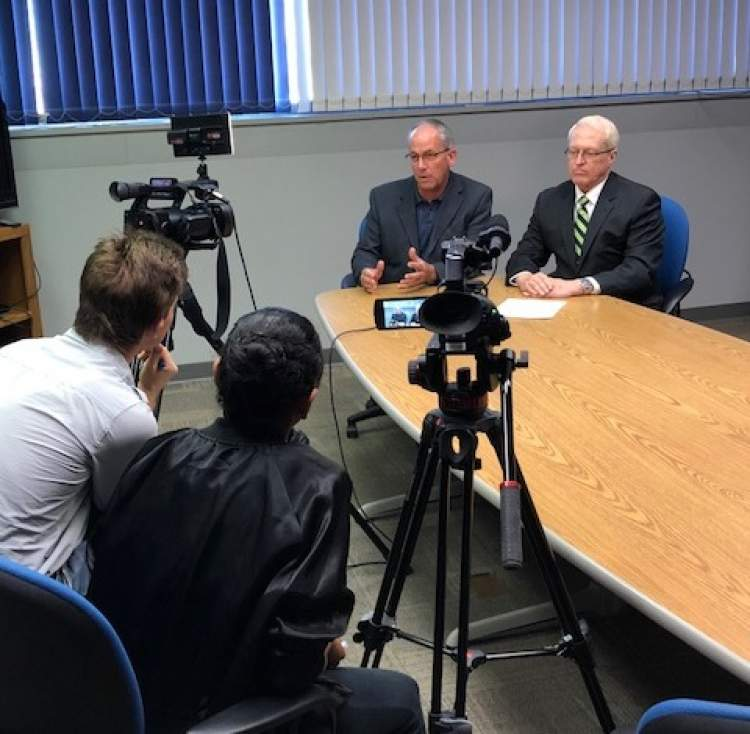 Mayor Steve Allender and Citizen Vision Fund Committee Chairman George Grassby meet with local media regarding the two dozen applications received from community groups seeking Vision Funds for local projects.
