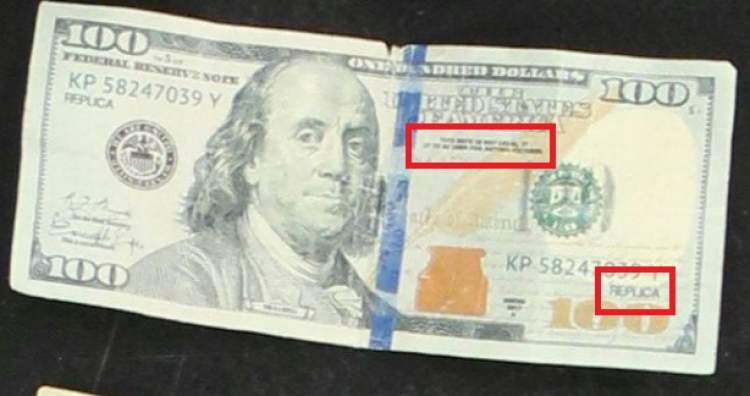 One of the fake bills recovered by the Rapid City Police Department