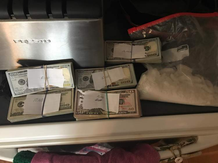 UNET execution of search warrant turns up large quantities of methamphetamine and cash