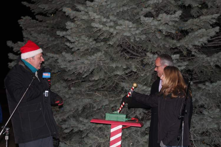 Mayor Steve Allender and wife Shirley push the lever to light the Wilson Park Christmas tree as co-emcee Mike Modrick provides the countdown.