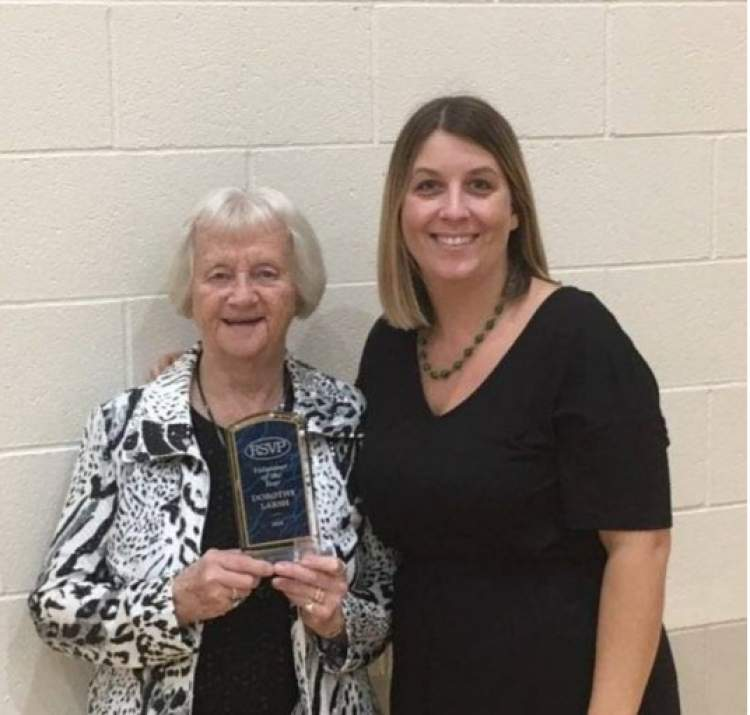 Dorothy Larsh was named the Rapid City RSVP+ Volunteer of the Year and was presented the honor by Ann Hines, manager of the Rapid City program.